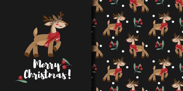 Banner de natal e padrão sem emenda de rena fofa usam lenço vermelho e coroa de bagas de azevinho Vetor Premium