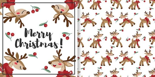 Banner de natal e padrão sem emenda de rena usam lenço e coroa de bagas de azevinho