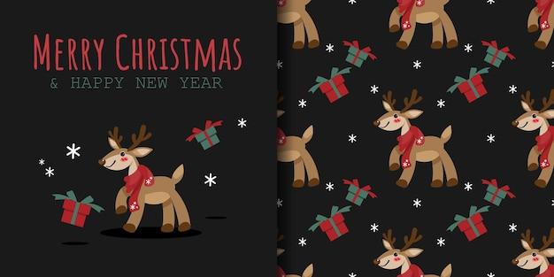 Banner de natal e padrão sem emenda de rena usam lenço vermelho com caixa de presente e flocos de neve
