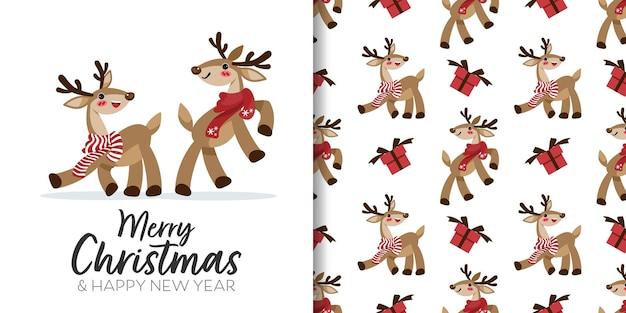 Banner de natal e padrão sem emenda de renas usam lenço vermelho