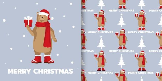 Banner de natal e padrão sem emenda de urso pardo com chapéu de papai noel segurando uma caixa de presente