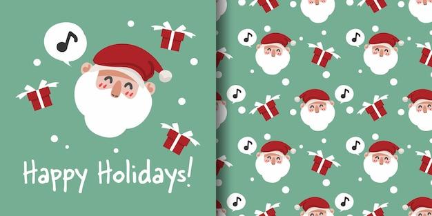 Banner de natal e padrão sem emenda do papai noel com caixa de presente e flocos de neve