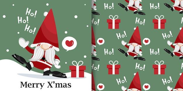 Banner de natal e padrão sem emenda do papai noel com caixa de presente e texto ho ho ho