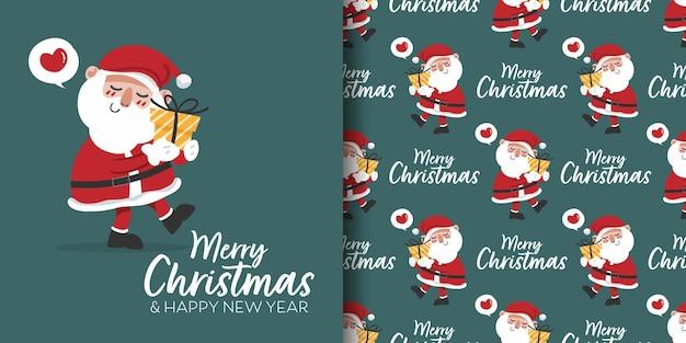 Banner de natal e padrão sem emenda do papai noel segurando uma caixa de presente