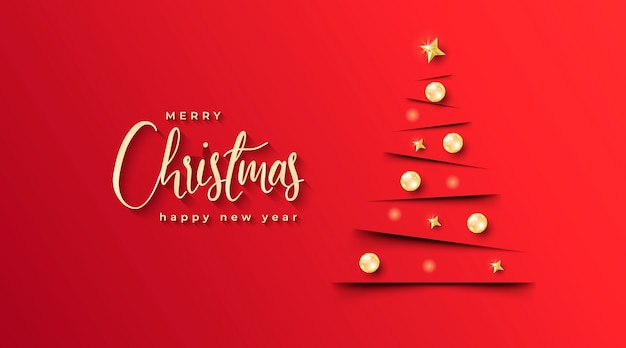 Banner de natal elegante com árvore de natal minimalista e fundo vermelho