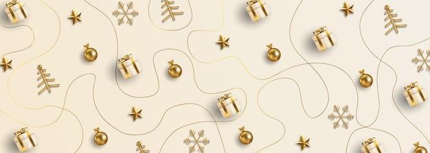 Banner de natal elegante com elementos dourados