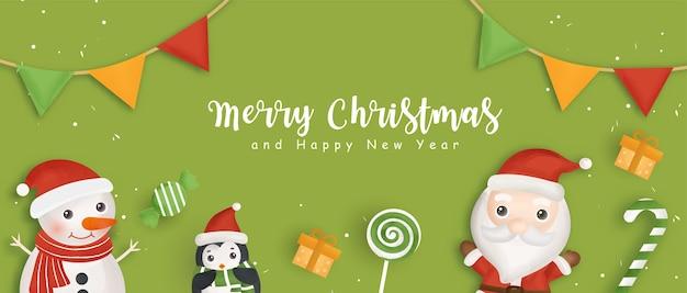 Banner de natal feliz com papai noel e amigos.