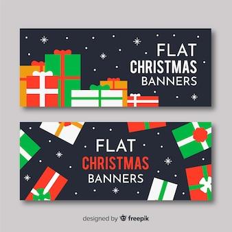 Banner de natal fofo conjunto com caixas de presente no design plano