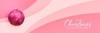 Banner de Natal linda rosa com bola realista