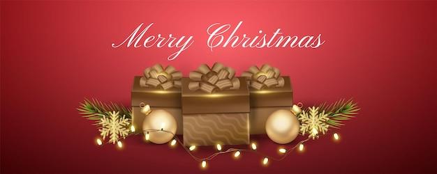 Banner de natal realista com ilustração de caixa de presente