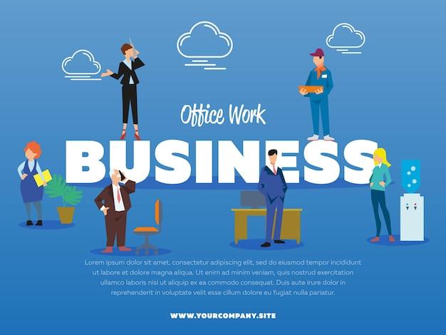 Banner de negócios de trabalho de escritório com pessoas