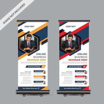 Banner de negócios enrolado