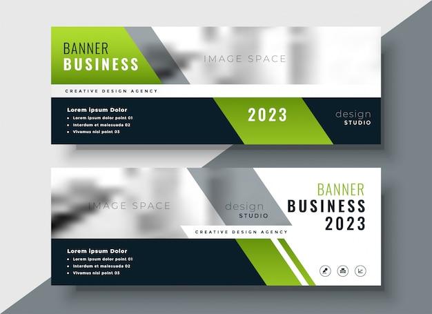 Banner de negócios geométricos verde com espaço de imagem