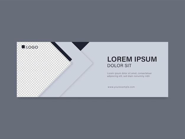 Banner de negócios ou design de cabeçalho com espaço de cópia na cor cinza e branco.