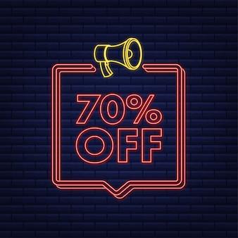 Banner de néon com desconto de 70 por cento na venda com etiqueta de preço de oferta de desconto no megafone