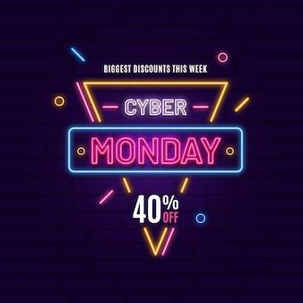 Banner de néon cyber segunda-feira
