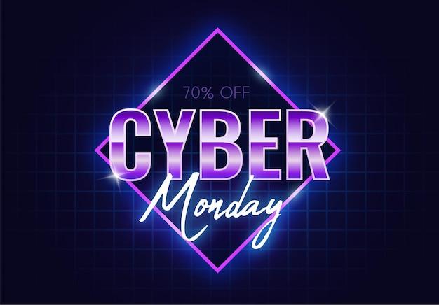Banner de néon da cyber monday