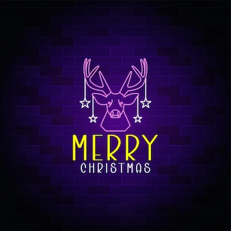 Banner de néon de feliz natal