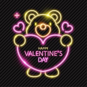 Banner de néon de urso bonito para dia dos namorados