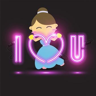 Banner de néon 'eu te amo'