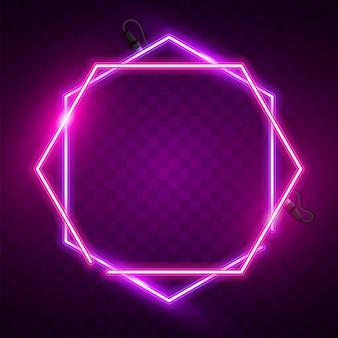 Banner de néon hexagonal rosa e roxo