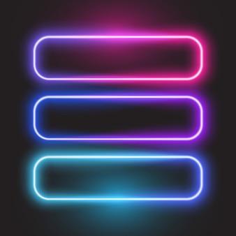 Banner de néon retângulo arredondado