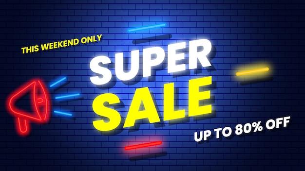 Banner de néon super venda. ilustração.