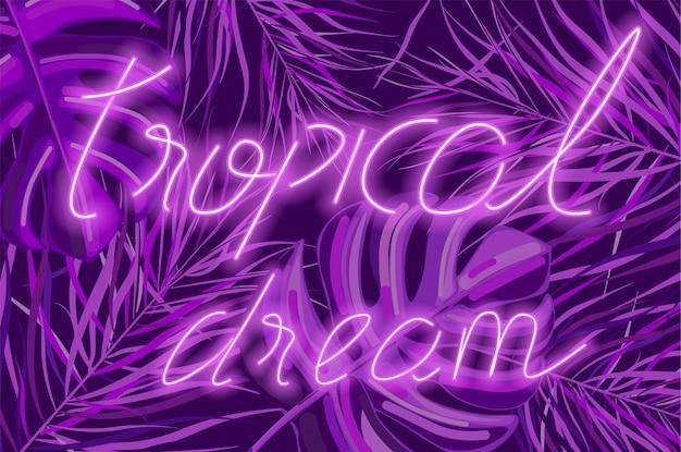Banner de néon tropical sonho