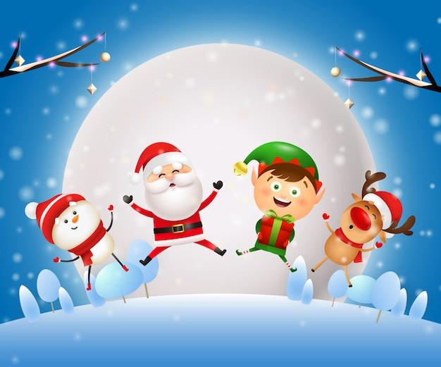 Banner de noite de natal com papai noel, animais no chão azul