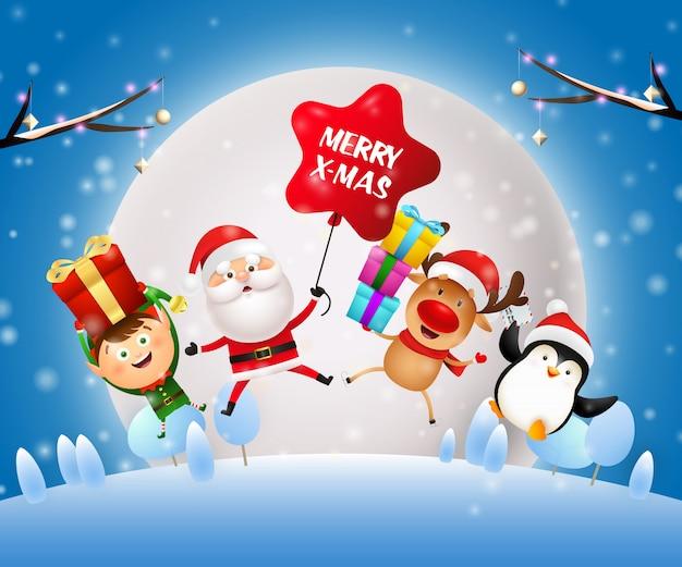 Banner de noite de natal com papai noel, elfo no chão azul