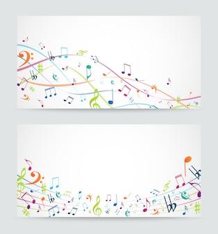 Banner de notas de música colorida abstrata