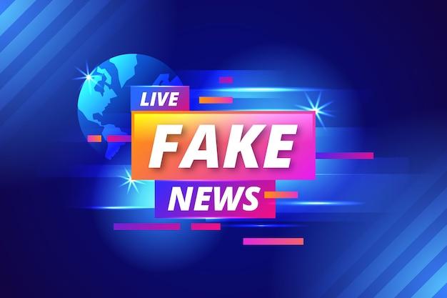 Banner de notícias falsas realista para tv