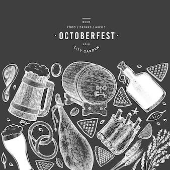 Banner de octoberfest com elementos de mão desenhada