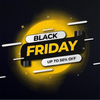 Banner de oferta abstrato black friday com estilo memphis