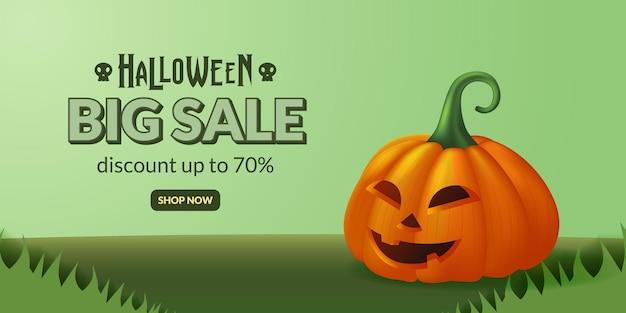 Banner de oferta de grande venda de ilustração de jack o lantern de abóbora de halloween na grama verde para festa de doces ou travessuras