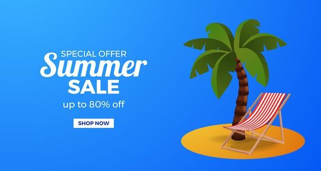 Banner de oferta de liquidação de verão com coqueiro e cadeira na ilha tropical