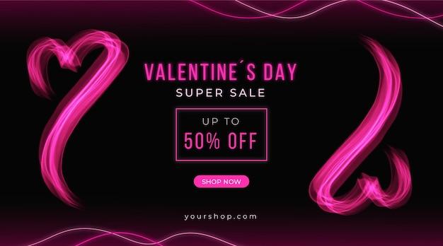 Banner de oferta de néon do dia dos namorados