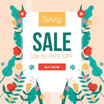 Banner de oferta de venda de primavera de design plano