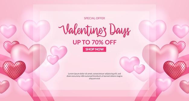 Banner de oferta de venda do dia dos namorados com formato de coração rosa suave 3d com fundo suave