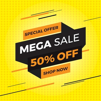 Banner de oferta de venda mega