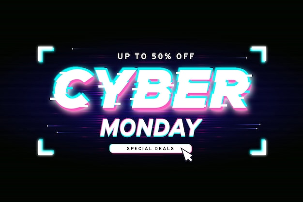 Banner de oferta do glitch cyber segunda-feira