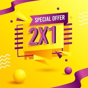 Banner de oferta especial 2x1 amarelo com formas em 3d