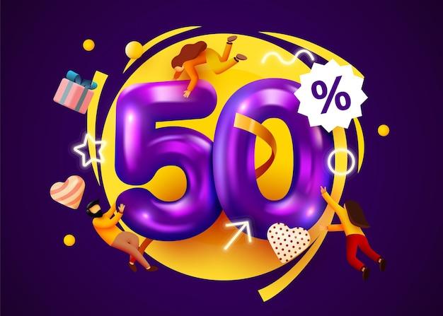 Banner de oferta especial de desconto percentual da mega venda com promoção de pessoas voando Vetor Premium