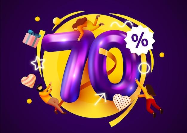 Banner de oferta especial de desconto percentual da mega venda com promoção de pessoas voando