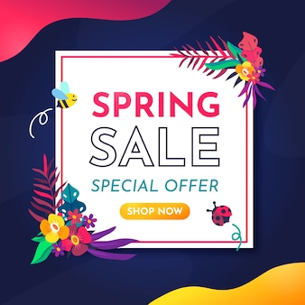 Banner de oferta especial de primavera de design plano