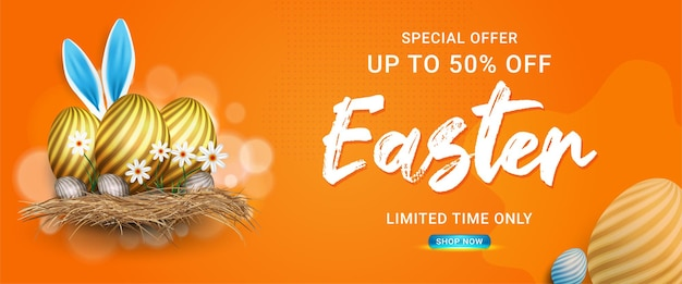 Banner de oferta especial de venda de páscoa com ovos de páscoa e flores