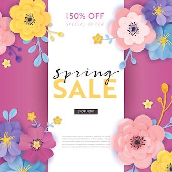 Banner de oferta especial de venda de primavera com flores de corte de papel. panfleto de desconto de promoção sazonal de design floral, folheto, cupom de compra. ilustração vetorial