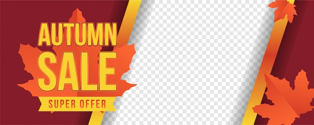 Banner de oferta super sale autum