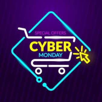 Banner de ofertas especiais de neon cyber segunda-feira