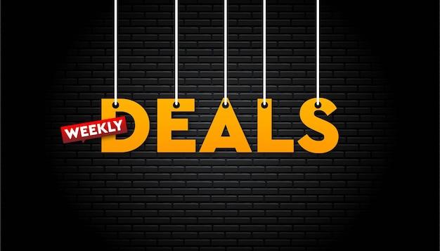 Banner de ofertas semanais com parede de tijolos